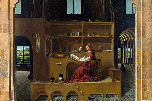 (Antonello da Messina, St. Jerome in His Study (detail), c. 1460-1475)